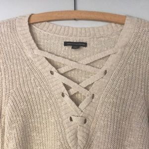 Knit Sweater with Lace Up Detailing